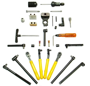 hi-lok ratchet tools, roller wrenches, hi-strength wrench tips, collets, mandrels, pressure feet, spacer blocks,